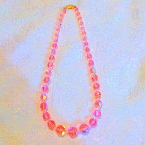 Vintage Pink Crystal Graduated Beaded Necklace